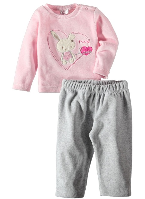 Locopop Kadife Pijama Takım Pembe